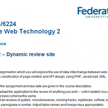ITECH3224-6224 World Wide Web Technology 2