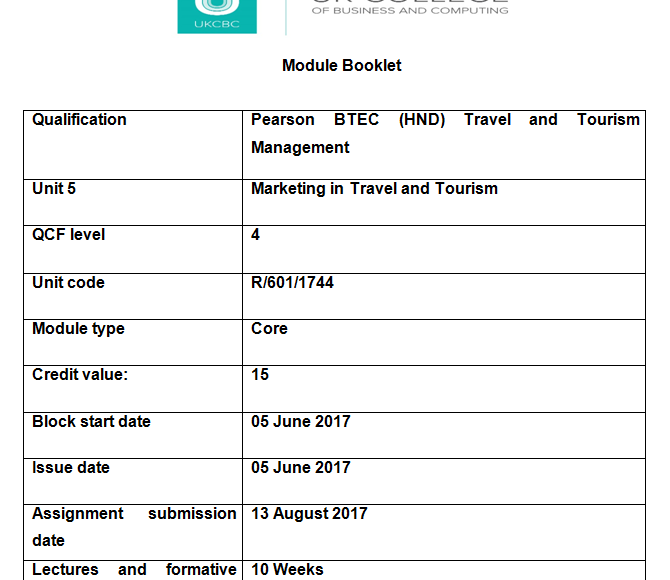 Unit 5 Marketing In Travel and Tourism