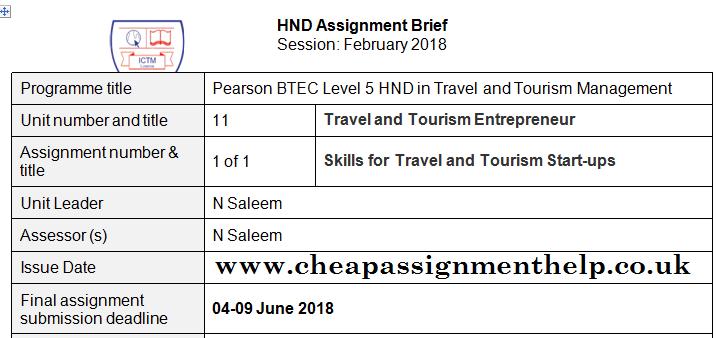 Unit 11 Travel And Tourism Entrepreuneur