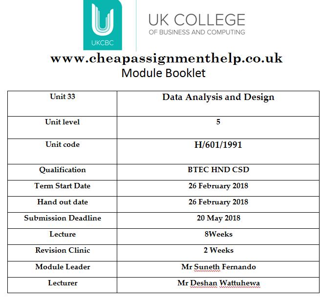 Unit 33 Data Analysis Design