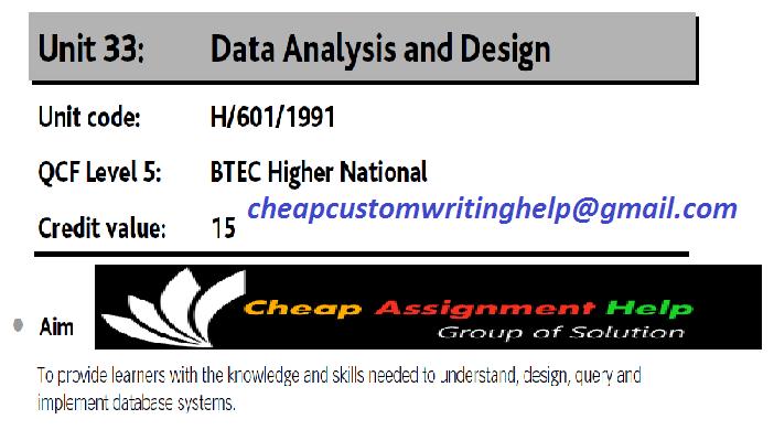H/601/1991 Data Analysis Design Assignment Help