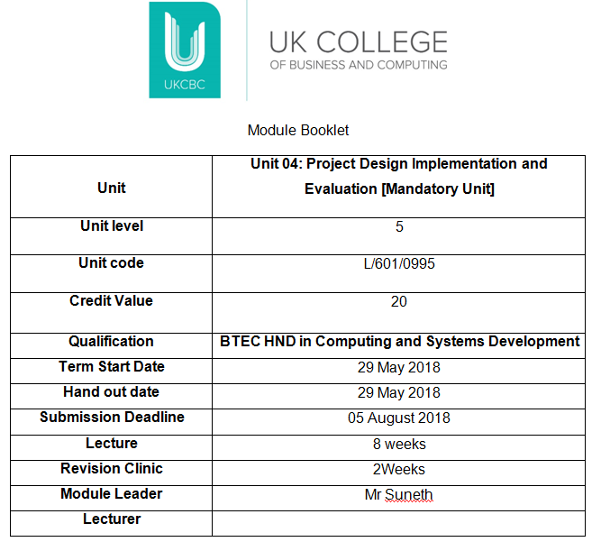 Unit 04 Project Design Implementation And Evaluation